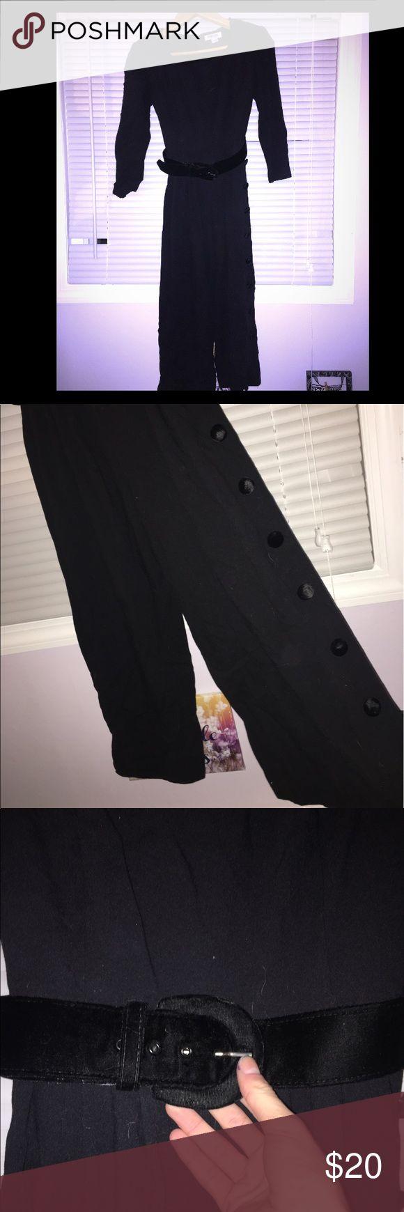 Vintage Black pant jumpsuit Size Petite 4, Authentic vintage!!! Belt is suede! Pants Jumpsuits & Rompers
