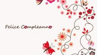 felice compleanno fiori e farfalle – happy birthday with flowers and butterflies