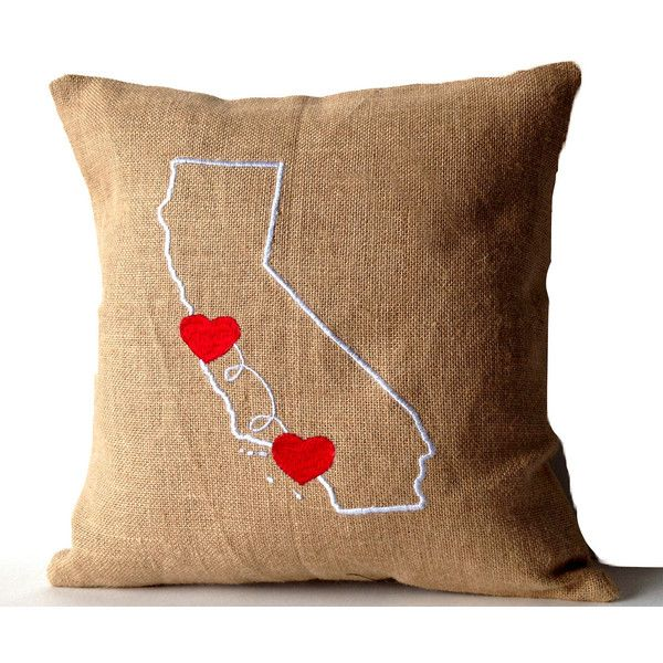 Decorative Pillows With States : State Map Pillow Burlap Pillow Cover Customize State City Heart Pillow... (1,500 INR) via ...