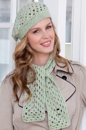 Red Heart® Soft™ First Beret & Scarf  #crochet #pattern