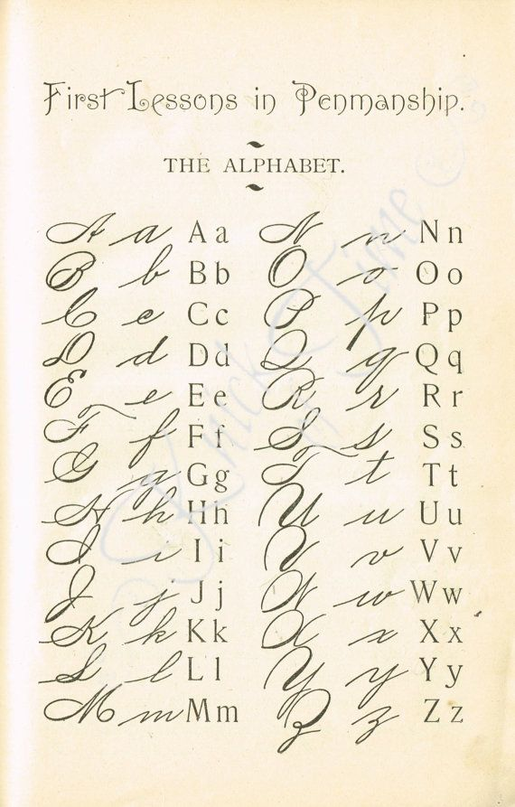 DIGITAL DOWNLOAD - 1895 escuela cartilla caligrafía Page - tipografía / alfabeto - para Papercrafts, transferencias, almohadas, libros de recuerdos y mucho más.