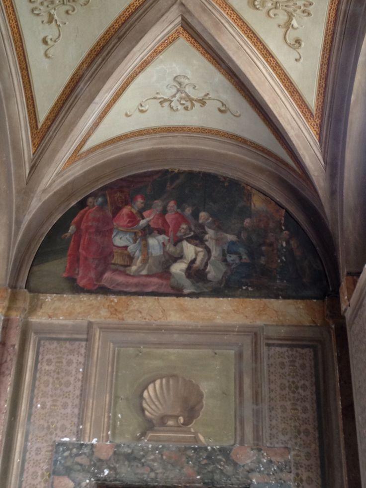 Dinsdag 6 oktober De paus wordt afgebeeld op een heilige met bisschoppen om hem heen. Iemand knielt voor hem en misschien vraagt hij hem wel iets. De afbeelding staat geschilderd in de San Carlo alle Quattro Fontane.