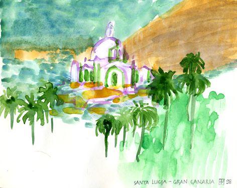 Santa Lucia Gran Canaria/Aquarell ©Tobias Windlinger