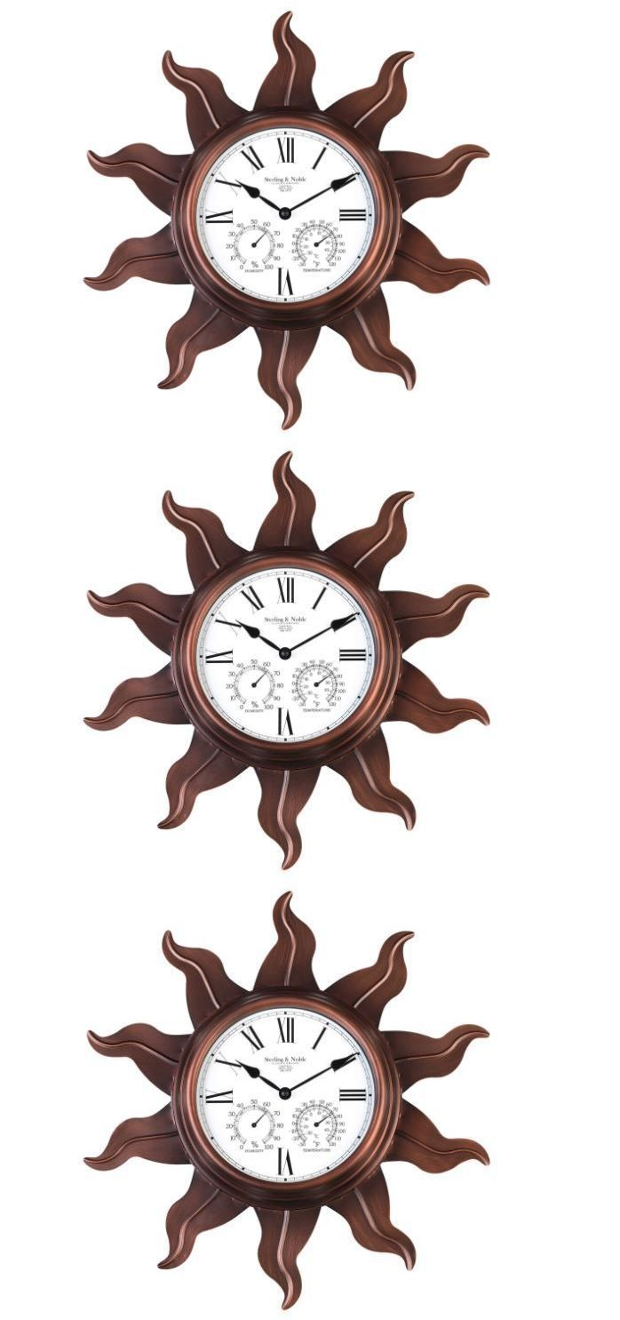 Wall Clocks 20561: Sterling And Noble Metal Sun Outdoor Vintage Decor Wall Clock With Copper Finish -> BUY IT NOW ONLY: $62.99 on eBay!