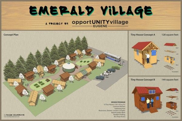 Emerald Village poster reduced 600x399 Fundraising for Tiny House Village to Benefit Homeless