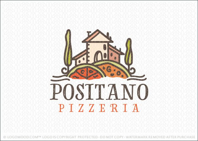 Logo for sale: Quaint Italian country villa setting with the rolling hills in the foreground created to looking like pizza pies. A natural and traditional titian style tuscany home perched atop the pizza hills with unique styled trees framing the house.