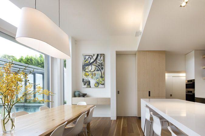 White Kitchen, Sleek Kitchen, Modern Kitchen, Kitchen Lighting, Pendant Light, White Interior, Timber Floors,