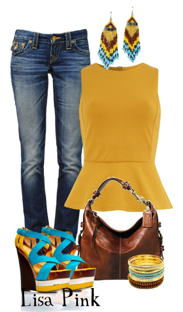 """TURQUOISE & MUSTARD CHIC"" by lichiep on Polyvore"