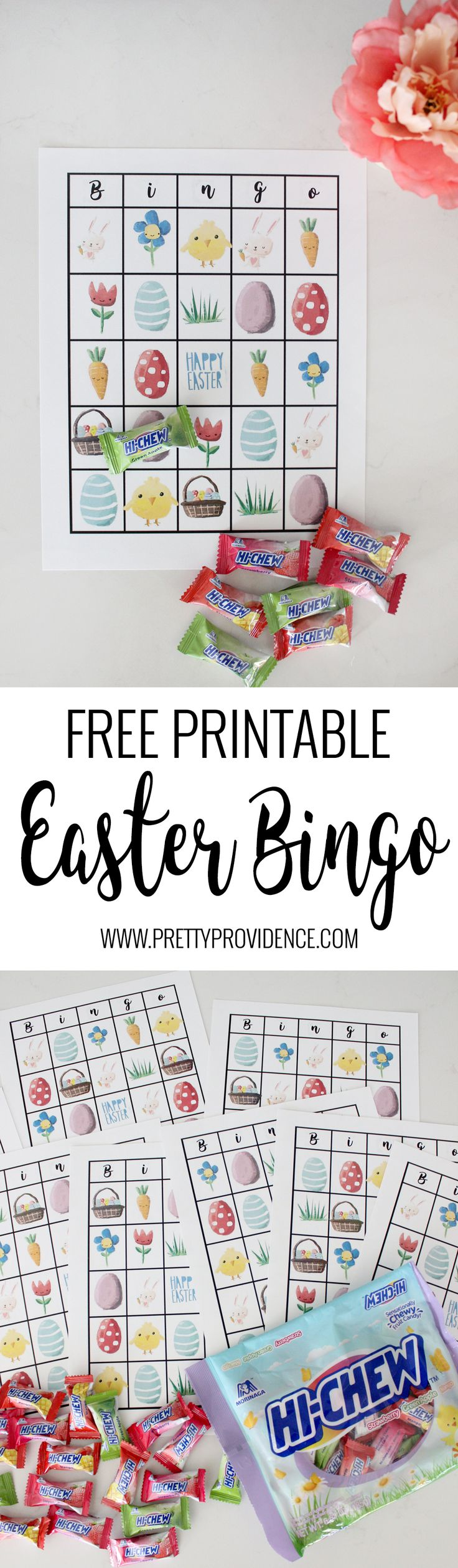 Free Printable Easter Bingo! Perfect for class parties, church classes, or just to keep the little ones entertained during Sunday gatherings! So easy to set up and the kids will LOVE it! #HiChewEaster #ad