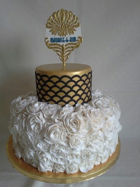Art deco with rose ruffles created by MJ www.mjscakes.co.nz in sunny Hawkes Bay NZ delivered to the Napier War Memorial Conference Centre