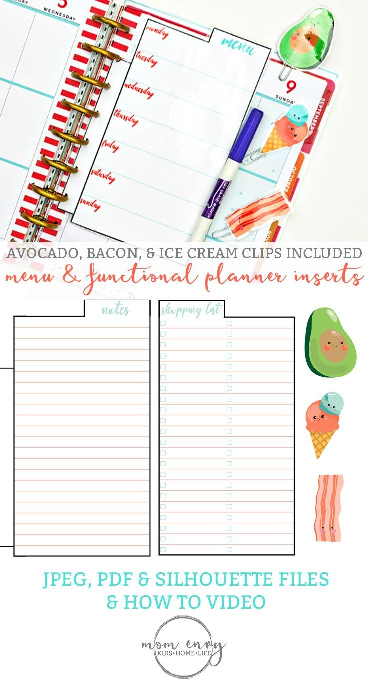 Free Planner Inserts and Planner Clips: Menu & Functional Inserts & Cute Food Clips. Clips include an avocado, bacon, and ice cream. Download for free.