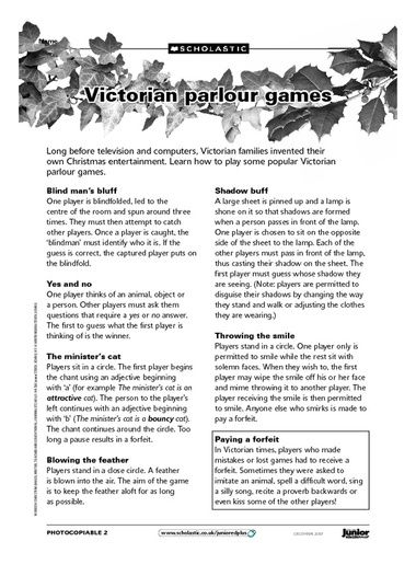 Victorian Parlor Games. Click to download as PDF.