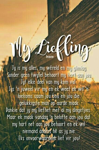 #afrikaans #myliefling #liefde