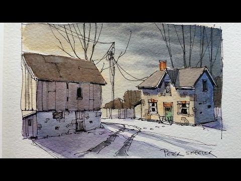 Draw and Paint a Farm at dusk. Line and Wash watercolor tutorial. Peter Sheeler - YouTube