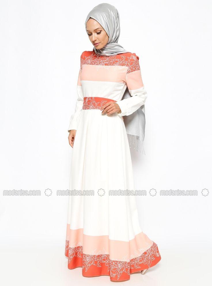 Patterned Dress - Cream - Powder - BURUN