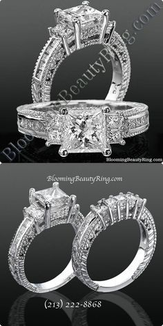 A 3 stone Princess Cut Diamond Ring with a touch of vintage http://www.bloomingbeautyring.com/unique-engagement-rings/princess-channel-set-beaded-milgrain-hand-carved-diamond-engagement-ring-bbrnw591034/  (213) 222-8868