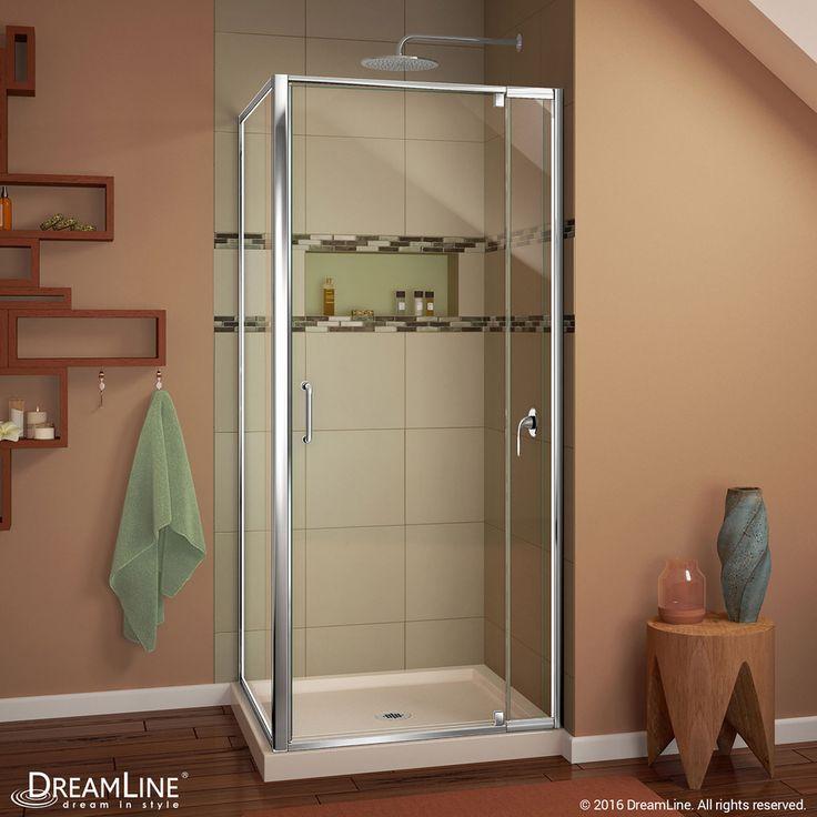 DreamLine Flex Chrome/Biscuit Acrylic Floor Square 2-Piece Corner Shower Kit (Actual: 74.75-in x 32-in x 32-in)