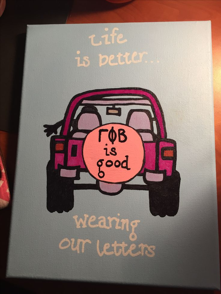 Gamma Phi Beta Jeep Life is good canvas