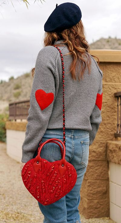 A little pop of heart. Heart and Soul Patched Knit Sweater featured by winnipegstyle Blog