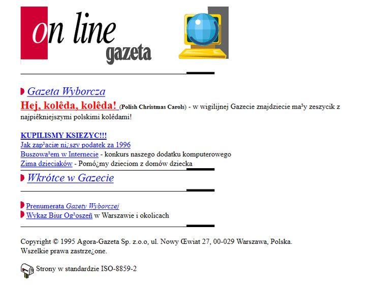 Gazeta website in 1996