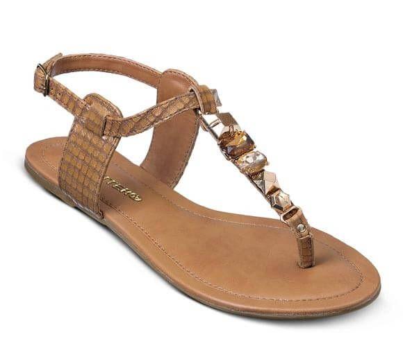 Sandália rasteira em couro com textura   Sandálias   Bottero Calçados