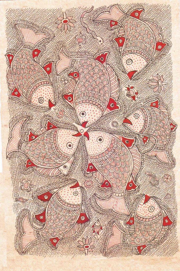 Madhubani painting http://handicrafts.exoticabazaar.com/view/4846-7-fish125.html