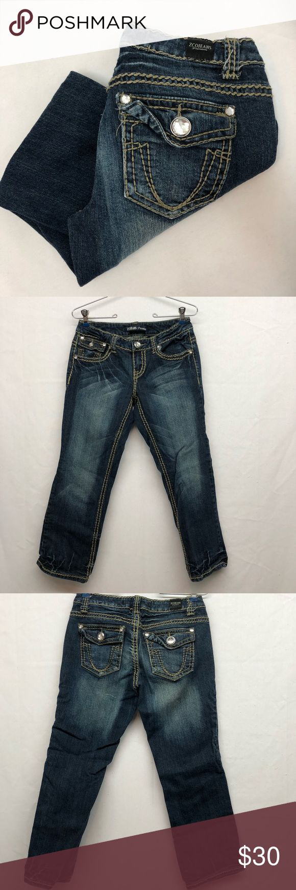 """Z Co Jeans Premium Crops Z Co Premium Jeans Crop. Excellent condition with no flaws. Size 7. Waist laying flat 14 1/2"""". Rise 7 1/2"""". Inseam 25"""". Bottom leg opening 7 1/2"""". ZCO Jeans Ankle & Cropped"""