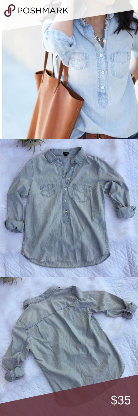 •J. Crew Chambray Top• J. Crew long sleeve quarter button up chambray top. Chambray tops are a must for any closets.   •size: small •color/print: blue chambray     •quarter button up •long sleeve chambray top •worn once, excellent condition  •model photo found via Pinterest  •No trades(comments will politely be ignored). •15% off 2+ items 💕 J. Crew Tops Button Down Shirts