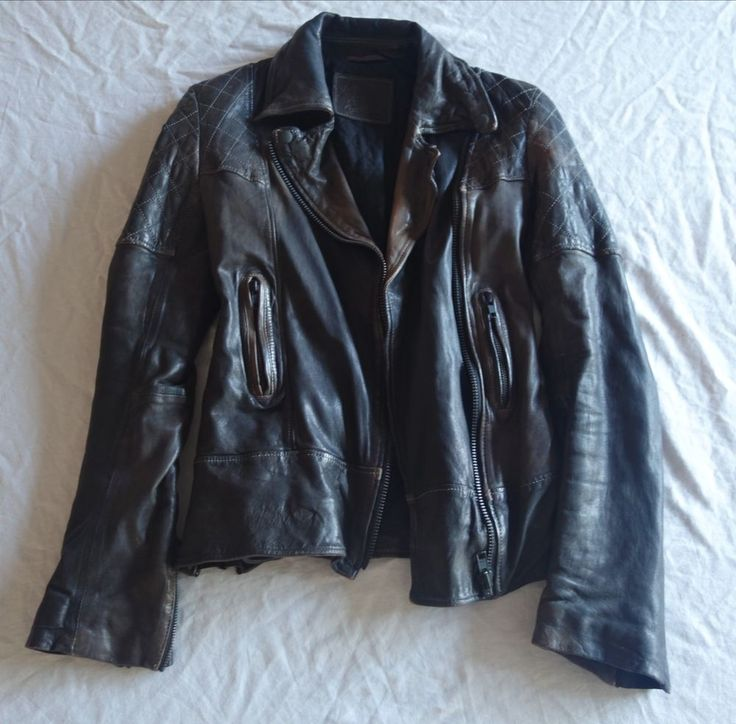 ~$750 ALL SAINTS DARK BROWN LEATHER TELSTAR BIKER JACKET ~  UK 6 / US  #allsaints #jacket