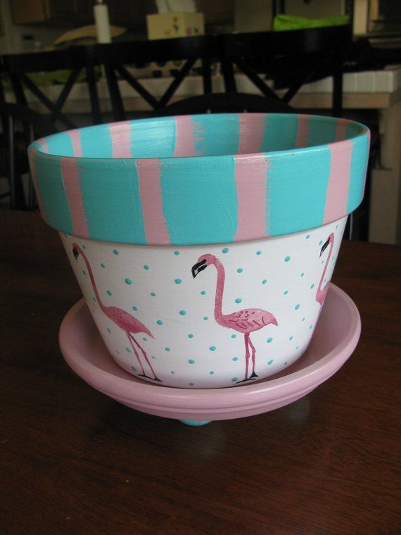 Flamingo Flower Pot Etsy Painted Plant Pots Decorated Flower Pots Painted Flower Pots