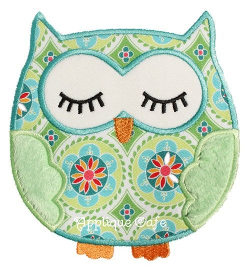 312 Sleeping Owl Machine Embroidery by AppliqueCafeDesigns on Etsy