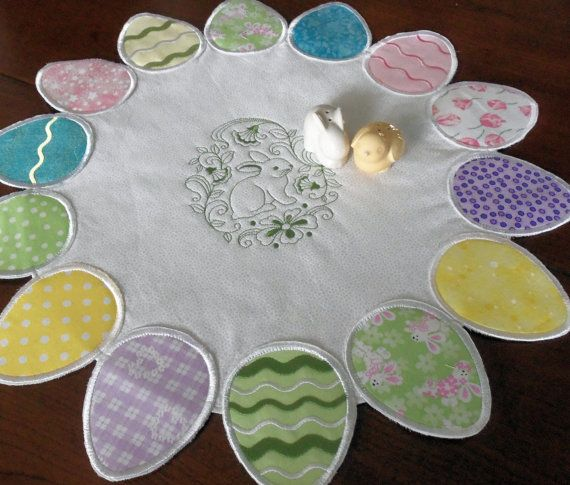 Easter Egg and Bunny  Quilted Table Topper by homesewnbychristine
