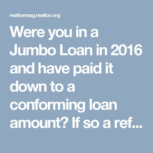 Were you in a Jumbo Loan in 2016 and have paid it down to a  conforming loan amount? If so a refinance may save you!. Call Cheryl for ALL your Real Estate needs! Cheryl Renshaw, REALTOR® Keller Williams American Premier Realty LLC 2021-B Emmorton Road Suite 110 Bel Air, MD 21015 Office: 410-512-0090 Mortgage Limits Rise for 2017 | Realtor Magazine