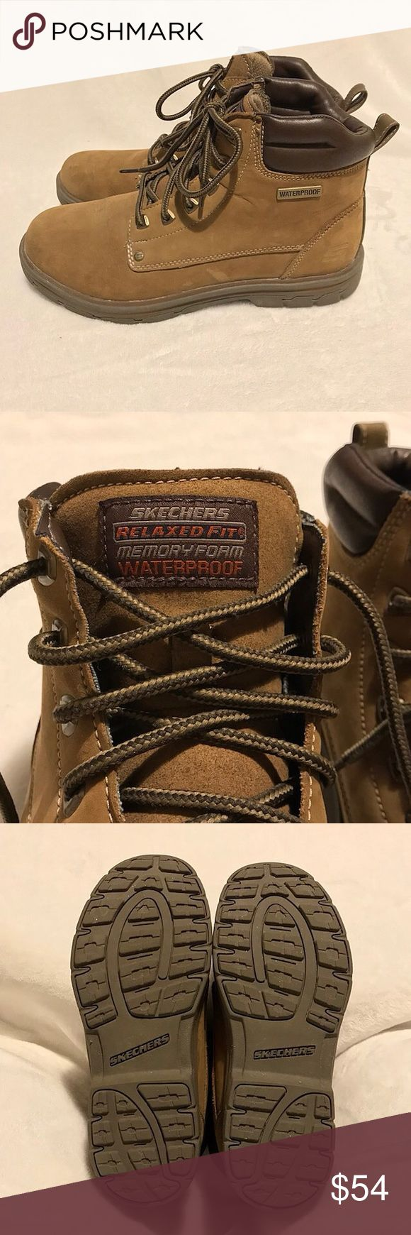 """Men's Relaxed Fit Memory Foam Skechers Work Boots Men's Skechers relaxed fit work boots with memory foam insole. Size 8.5. Light brown/tan color. Waterproof leather and padded collar. Lace up with durable metal rivets and flexible rubber traction outsole. Measures 5"""" down the back of the boot and 6"""" down the side. Scuff mark on the front of the right boot as shown in pics. No other flaws or defects. Durable and roomy. Skechers Shoes Boots"""