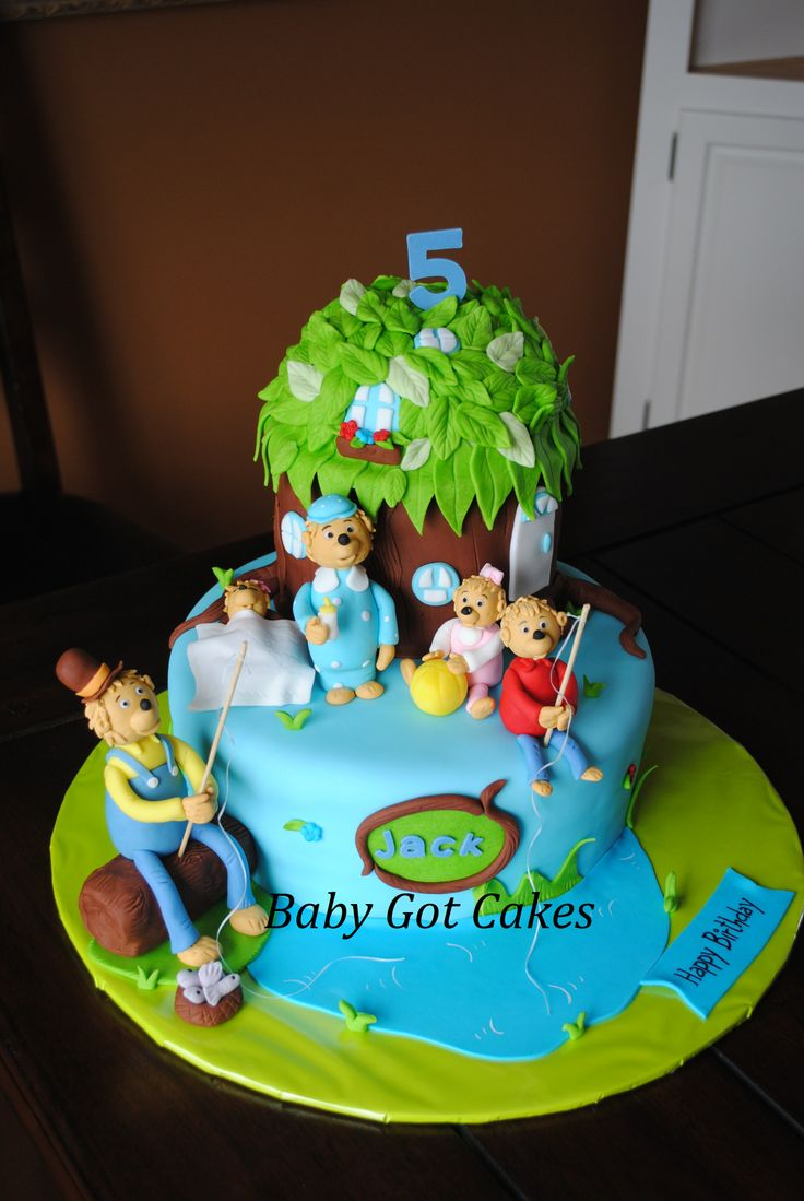 Children's Birthday Cakes - Berenstain Bears Treehouse Two Tier Covered in fondant with fondant accents Characters made from gumpaste & fondant