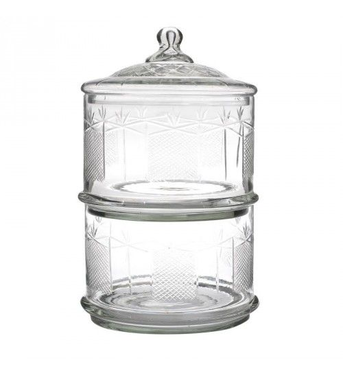 GLASS 2 TIER VASE W_LID 18_5X18_5X31