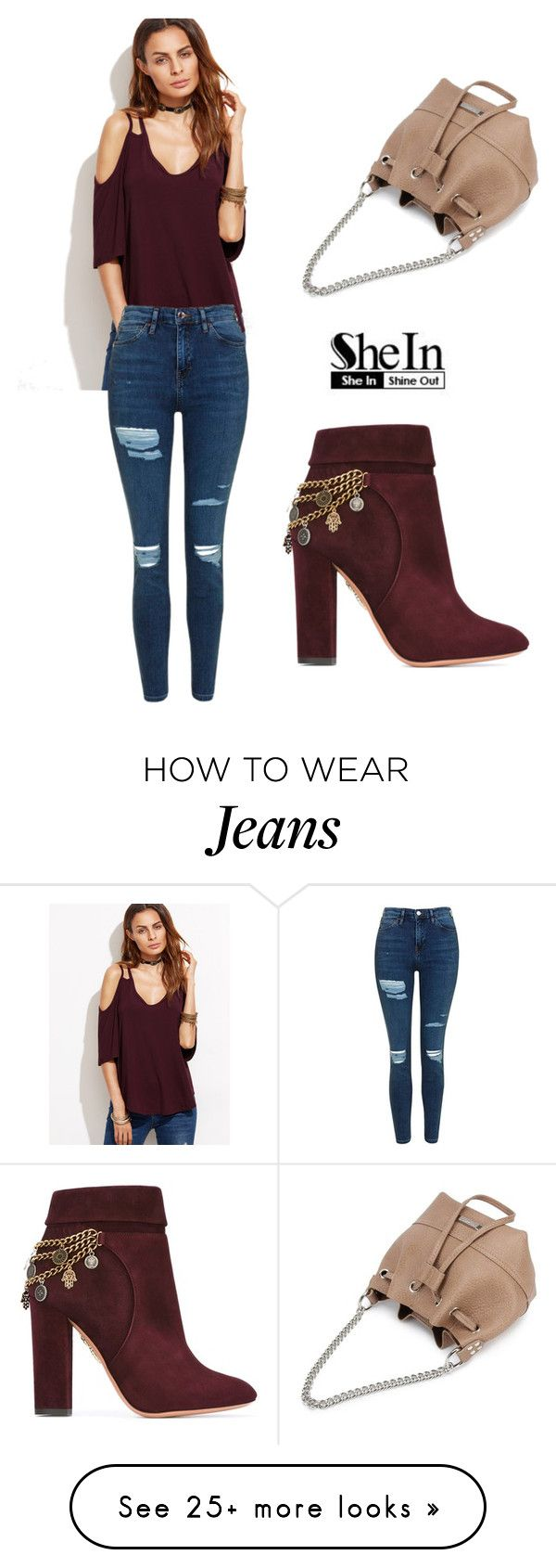 """""""SHEIN T-Shirt"""" by tania-alves on Polyvore featuring Topshop and Aquazzura"""