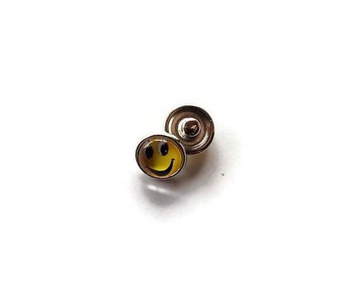 bouton snap chunk visage souriant jaune 12 mm cabochon pour bijoux personnalisables B072 : Autres accessoires bijoux par mamiechantal-screations