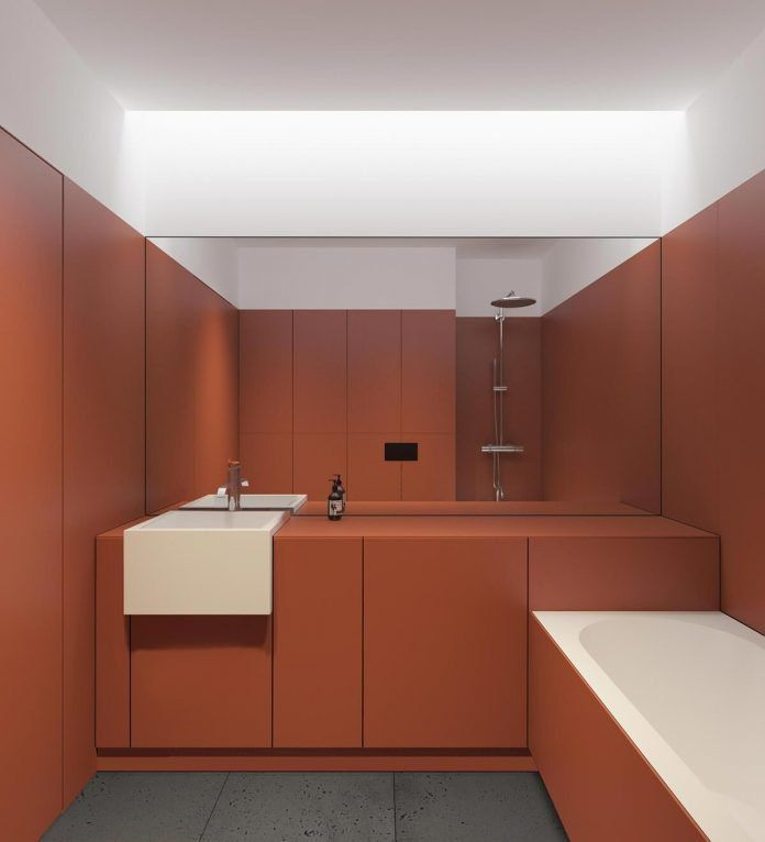 Who wouldn't love trendy terracota color in a bathroom