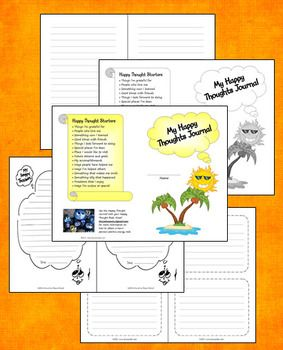 FREE Happy Thoughts Journal - Similar to a gratitude journal, but with more writing options. Includes a selection of inside pages, cover options, and writing prompts.