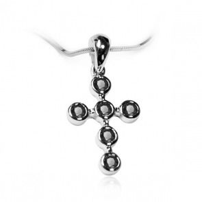 Złoty krzyżyk z czarnymi diamentami - Biżuteria srebrna dla każdego tania w sklepie internetowym Silvea