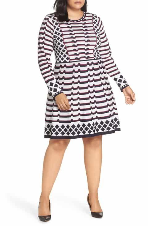 22ca5ffca3d Save money on Eliza J Artwork Jacquard Sweater Dress (Plus Size)