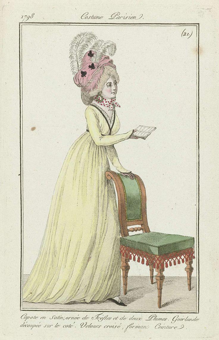 Journal des Dames et des Modes, Costume Parisien, 4 février 1798, (21.): Capote en Satin..., Anonymous, 1798