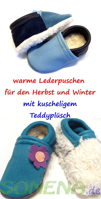 Kuschelig warme Lederpuschen für den Herbst und Winter aus pflanzlich gegerbtem Leder (Ecopell) gibt es jetzt bei Sonena - Wähle Dein Wunschmodell mit Futter aus Teddyplüsch, Nicky oder Fleece, jeweils aus 100% Baumwolle (Biobaumwolle)