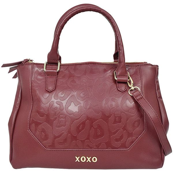 XOXO Deep Red Leopard-Embossed Satchel (9.535 HUF) ❤ liked on Polyvore featuring bags, handbags, xoxo handbags, red satchel handbags, leopard print purse, red satchel purse en zip zip satchel