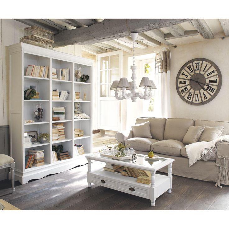 Bibliothèque en bois de paulownia blanche L 160 cm Joséphine   Maisons du Monde