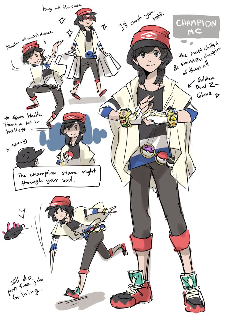 More adult SM Pokemon character…. Your Champion MC!! I can't decided male or female design I should go for….so I mixed them up and try to make the design can be interpret as both male and female. /but if I do a comic she'd be a girl…. because I play...