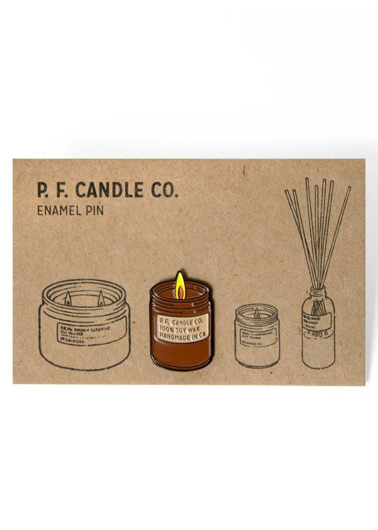 """Rep the #candlecult with the brand new P. F. enamel pin. Add it to your favorite jacket, vest, or as they do at P. F. HQ: your sturdiest apron.Dimensions: Measures 1"""" x 5/8"""".Details: Rubber backing.P.F. Candle Co. is a handmade candle and home fragrance goods company, owned and operated by wife a..."""