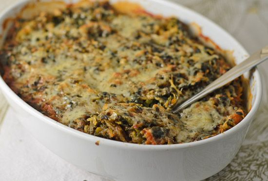 sphagetti squash and spinach casseroll