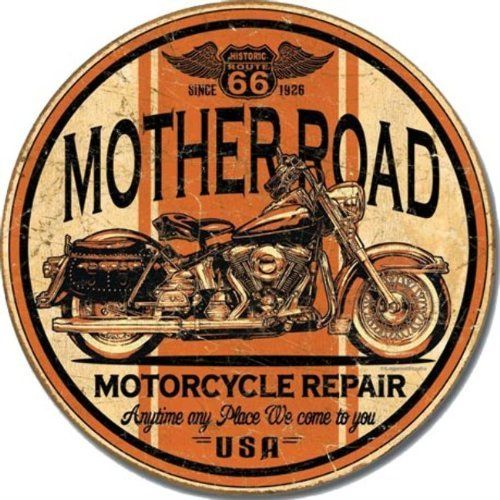 Mother Road Motorcycle Repair Round Vintage Tin Sign